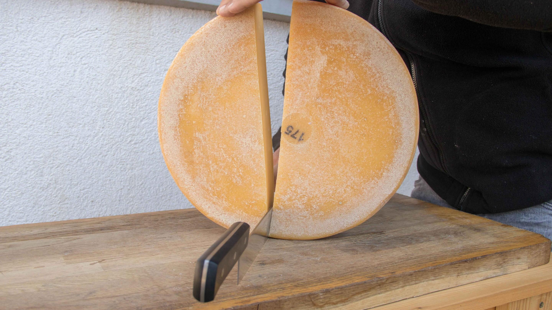 sajtkészítő szeleteli a tokaji érlelt sajtot